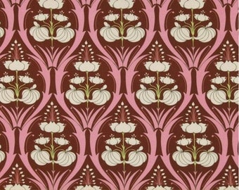 Amy Butler Soul Blossoms - Passion Lily Mulberry, 100% Cotton, Fabric by the Yard, Large Floral Pattern, Art Deco, Pink, Chocolate Brown