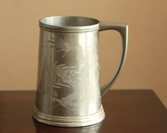 Vintage pewter beer stein made in China 1946 / dragon etchings in pewter / Beijing Peiping 40s