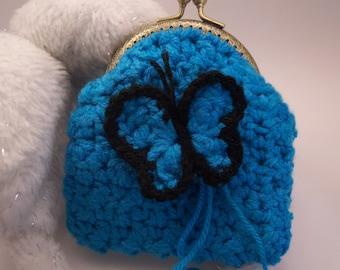 Clutch Purse with a batterfly Broach (Brooch) Crochet Handmade