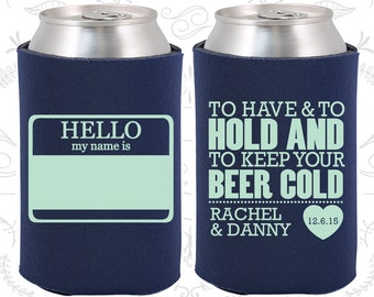 Elegant Navy Blue Wedding, Can Coolers, Navy Blue Wedding Favors, Navy Blue Wedding  Gift