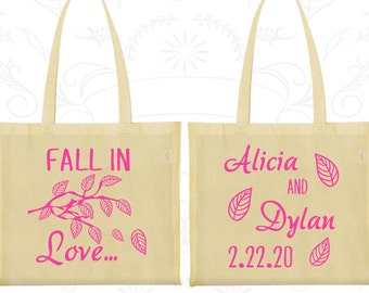 Fall In Love Wedding Bags, Customized Shopping Tote Bags, Fall Wedding, Leaves, Personalized Tote Bags (283)