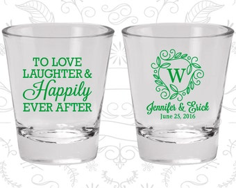 custom shot glasses c61 love laughter happily ever after wedding favors personalized