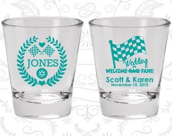 Welcome Wedding Race Fans, Wedding Favor Glassware, Racing Flags, Checkered Flag, Race Car Wedding Shot Glasses, Custom Shot Glasses (589)