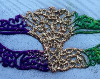 Handmade Adhesive Purple Green Gold Mardi Gras Mask
