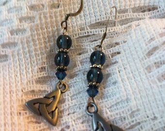 Blue and silver pierced earrings with Trinity knot charms.