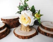 "6""-6.5"" Wood Slices, Bark Wood, Wood Slabs, Tree Trunk Slices, Wedding Centerpieces, Rustic Wedding Decor, Woodworking"