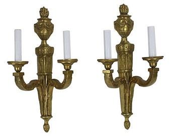 Solid Brass Regency Sconces, Pair - Hollywood Regency