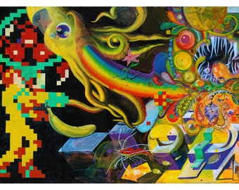 Original Art Print, Modern Art Print, Psychedelic Artwork, Sacred Geometry Painting, 8-bit Oil