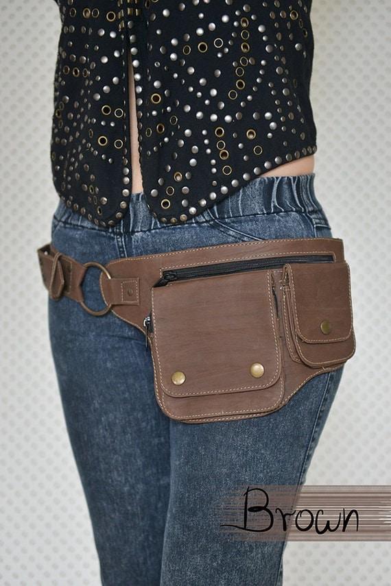 leather utility belt festival belt pocket belt by