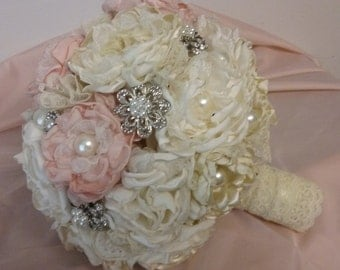 Pink vintage brooch lace bridal bouquet