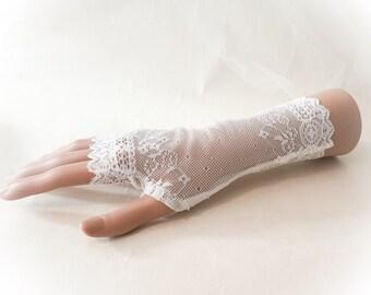 wedding gloves, Ivory lace gloves, fingerless gloves, vintage look bridal gloves, bridal gloves, stretch lace gloves, Ivory gloves