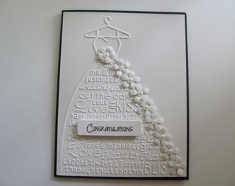 Wedding Dress Card,Wedding Card, Embossed Wedding Card, Congratulations Card,White Weddings, Embossed Cards, Embossed Wedding Dress Card