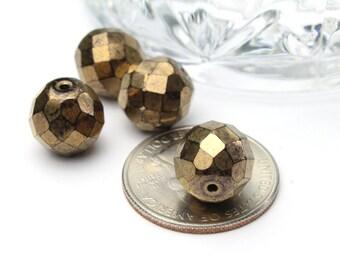 Faceted Bronze Czech Crystals 12mm 4pcs