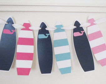 Whale Surfboard Banner Surf Beach Banner Preppy Surfing Party Surfboard Garland Pink and Navy Printable Instant Download