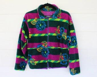 90's Fleece Knit Women's Jacket- Multicolor Size S/M