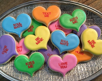 Conversation Hearts ~ Valentines Day Special ~ 1 Dozen Custom Cookies ~ SHIPPED