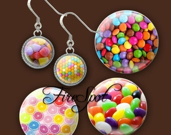 Candy sweet sweetmeats - Digital Collage Sheet 20mm, 18mm, 16mm, 14mm, 12mm circle.Glass Pendant.Bottlecaps Scrapbooking downloads