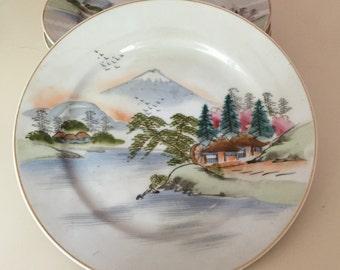Mid Century Japanese Salad Dessert Plate, Hand Painted Japanese Porcelain Set Of Six Salad Dessert Plates