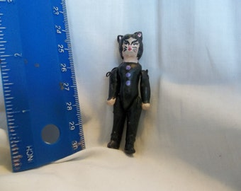 Antique German Bisque Doll Artist Altered Halloween Cat Girl Costume Haunted House