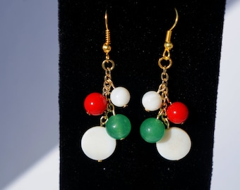 Red, White, and Green Festive Christmas Earrings - Holiday Jewelry