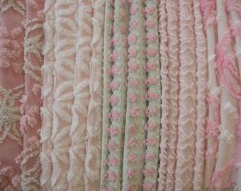 "Vintage Chenille Bedspread Fabric Morgan Jones Rosebud Hofmann Daisy Cabin Craft 12""x18""...30-6"" Sqrs... (s1)"