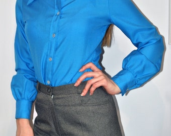 70s SUPER BLUE collared shirt