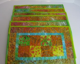 Set of Six Quilted Placements, Batik Quilted Placemat