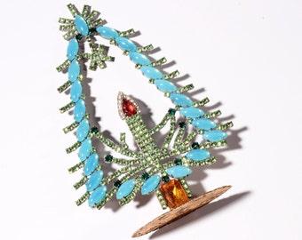 Free standing handmade Czech glass cabochon rhinestone jewelled candle Christmas tree decoration ornament