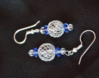 Silver wire beads with blue crystal accents