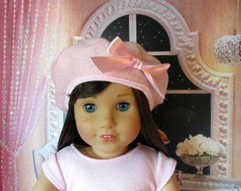 18 Inch Doll Hats, Girl Doll Clothes, Pink Felt Parisian Beret, fits 18 inch dolls such as American girl dolls