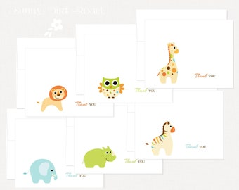 Zoo Animals Thank You Cards - Set of 12