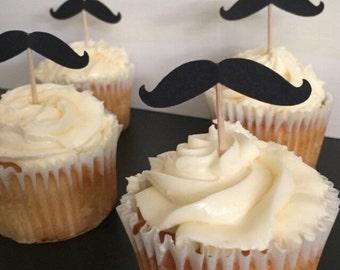 1 dozen Mustache Cupcake Toppers