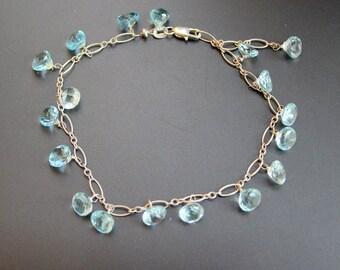 blue topaz bracelet ,Sterling silver 925,Handcraft