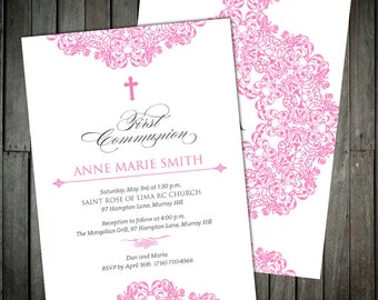 Modern Damask Medallion First Communion Invitations In Soft Pink