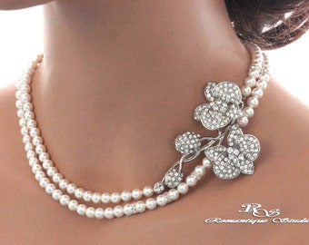Pearl necklace with brooch Wedding jewelry Pearl rhinestone necklace Bridal necklace Wedding necklace Pearl bridal jewelry Necklace 2181