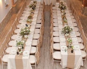 Wedding beautiful Rustic hessian x1 table runner shabby chic... Country garden theme 2 Metres x35cms