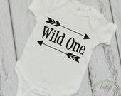 Wild One Shirt Birthday Outfit First Birthday Shirt Baby Boy Birthday Arrow Bodysuit READY TO SHIP 025
