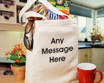 Personalized Block Message Canvas Tote Bag