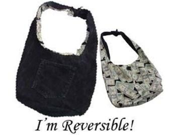 Hobo Purse / Boho Bag / Slouch Bag / Shoulder Bag / Denim Purse - Upcycled from  Black Jeans - Reversible Money Print