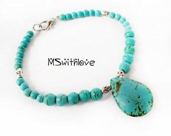 Turquoise beaded bracelet, Turquoise gemstone bracelet, Bangle bracelet, Summer bracelet