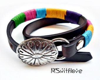 Leather wrap bracelet, Colorful wrapped bracelet, Bohemian wrap bracelet, Brown leather bracelet, Gift for her