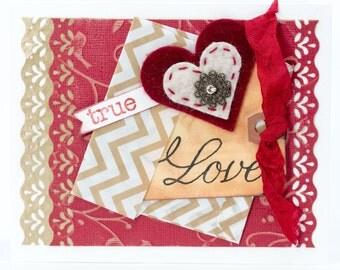 True Love Be Mine, Handmade Paper Valentine Card, Romantic Paper Greeting Card