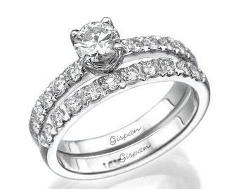 wedding ring set engagement ring engagement set white gold set diamond set - Wedding Set Rings
