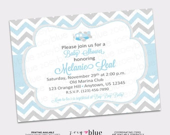 Airplane Baby Shower Invitation Plane Boy Baby Shower   Baby Blue Grey  Chevron Zig Zag
