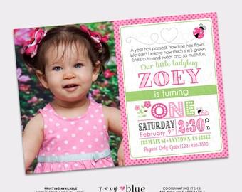 Pink Ladybug Birthday Invitation 1st Birthday Typographic Ladybug with Picture Pink Lady bug Green Black Ladybug Printable Digital File