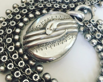 Victorian Silver Snake Locket and Bookchain