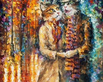Cats Artwork Romantic Colorful Painting On Canvas By Leonid Afremov   Cat  Couple