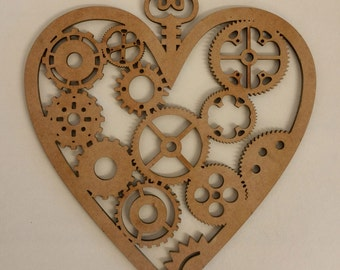 Valentines Steampunk Heart - Laser cut with cogs and gears