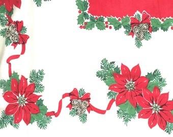 Vintage Christmas Tablecloth Cheerful Poinsettias Jingle Bells Holly Holiday Festive Table Linens 90 x 58