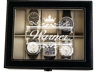 Custom Watch Box, Watch Case for Men, Watch Case Personalized, Watch Box for Him, Mens Watch Case, Engraved Watch Case, Watch Holder